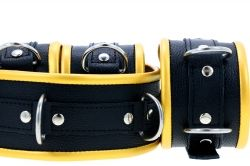 Black & Yellow Gold Leather Padded Restraint Set (4, 5 or 7 Piece Set)