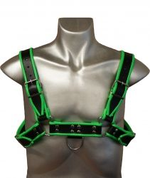 Leather Chest H-Harness Black & Green