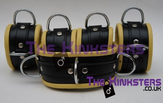 Black & White Leather Padded Restraint Set (4, 5 or 7 Piece Set)