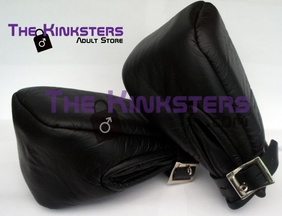 Leather Bondage Mitts Rounded Top