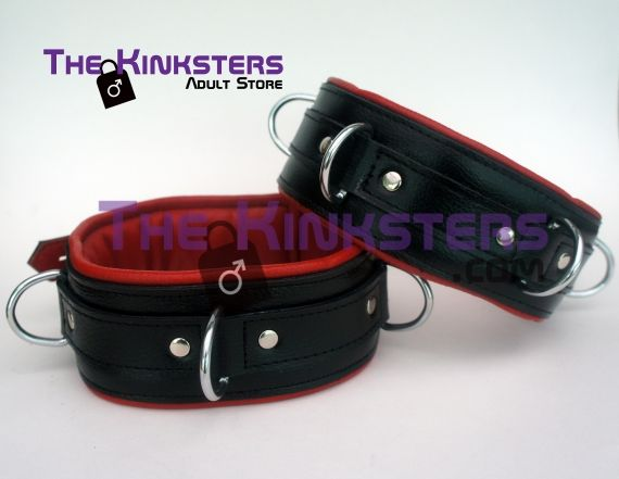 Leather Padded Thigh Restraints Black with Red Interior