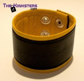 Leather Wrist Band Black &  Yellow