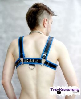 Leather Chest H-Harness Black & Blue