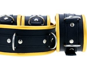 Black & Gold Leather Padded Restraint Set (4, 5 or 7 Piece Set)