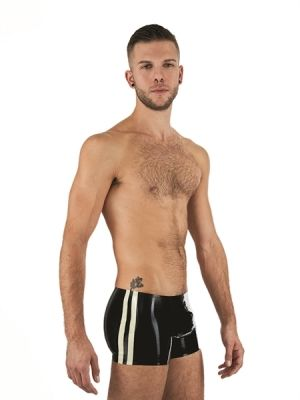 Mister B Rubber Trunks Black White