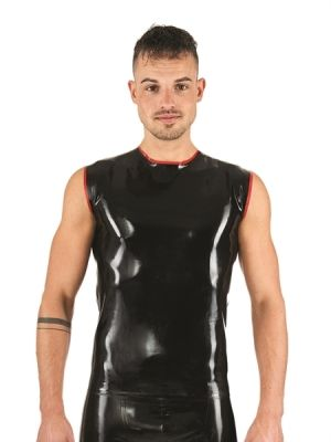 Mister B Rubber Sleeveless T-Shirt Black Red