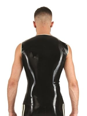 Mister B Rubber Sleeveless T-Shirt Black White