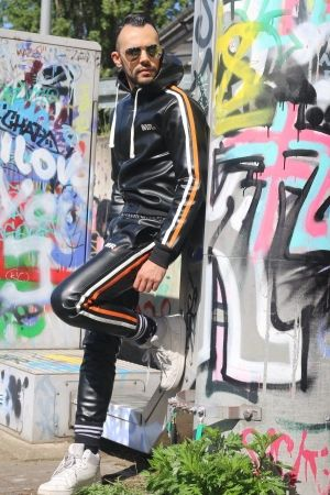 Mr Riegillio MR. Tracksuit Joggers with Orange Stripes