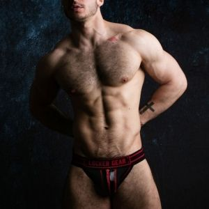 Locker Gear Zipper Jockstrap Red