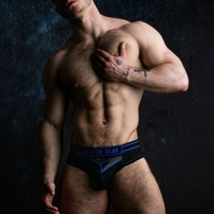Locker Gear Bottomless Brief with Front Opening Blue
