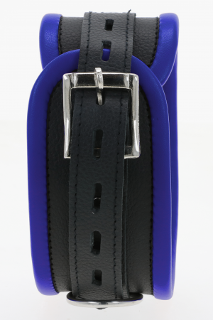Black & Blue Leather Padded Restraint Set (4 or 7 Piece Set)